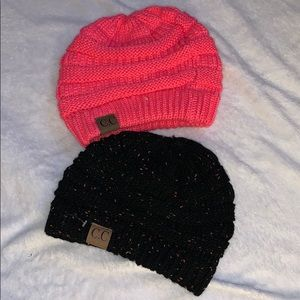 CC Beanies Combo  Black Speckle and Hot Pink